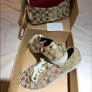 Authentic matching Coach shoes and wristlet